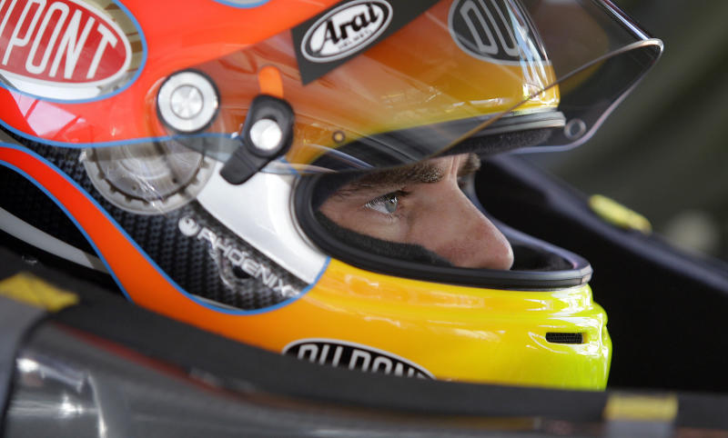NASCAR driver Jeff Gordon prepares for  practice laps for Sunday's NASCAR Toyota Save Mart 350 auto race, Friday, June 24, 2011, at Infineon Raceway in Sonoma, Calif. (AP Photo/Ben Margot)