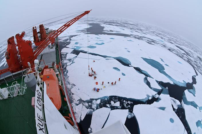 Chinese icebreaker Xue Long at a drift ice camp in the middle of the Arctic Ocean, July 2010.