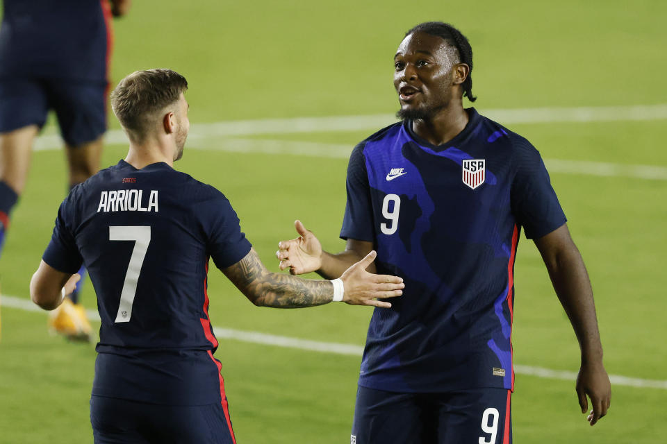 After scoring Wednesday in the final U.S. match of 2020, Paul Arriola and Ayo Akinola (right) will be looking for more national team opportunities next year. (Michael Reaves/Getty Images)