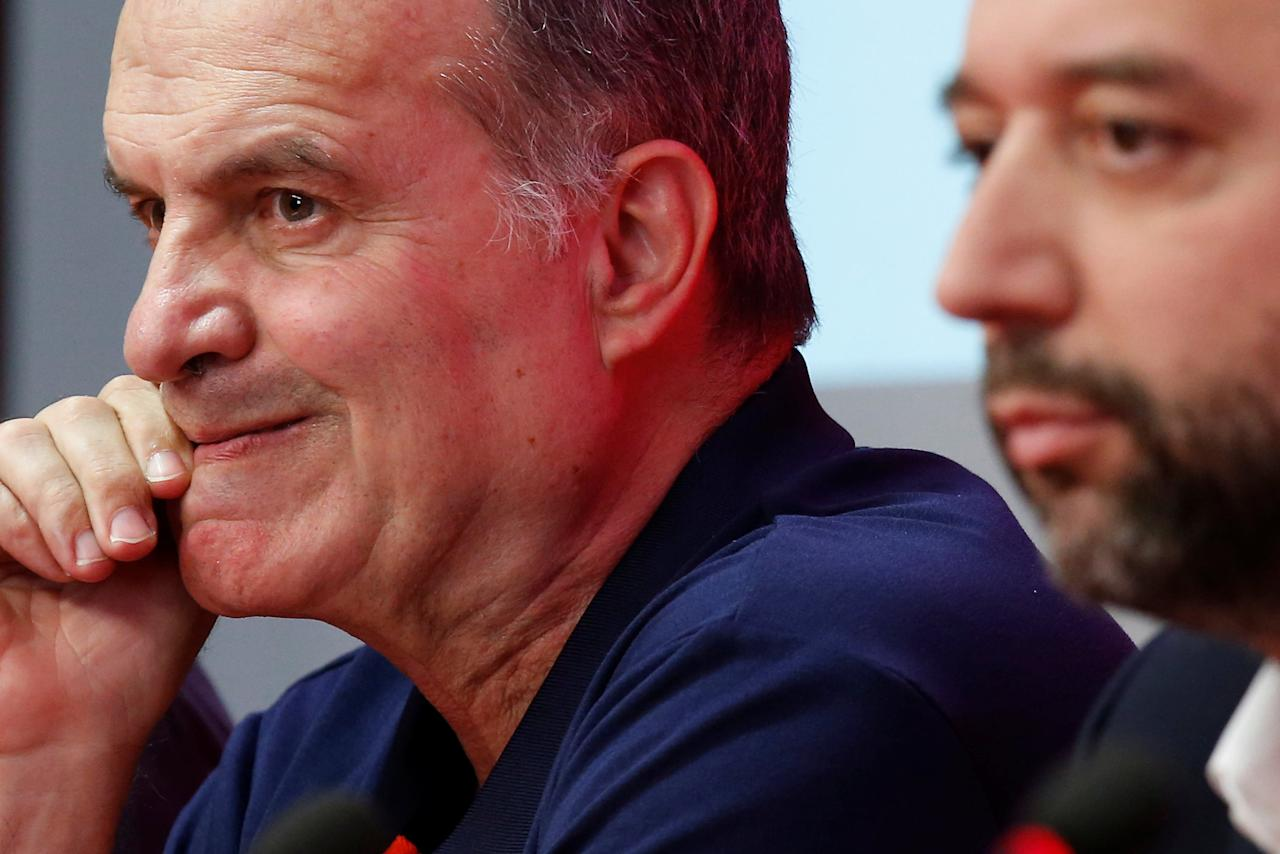 New Lille LOSC coach, Marcelo Bielsa of Argentina (L) attends a news conference at the Domaine de Luchin training center in Camphin en Pevele near Lille, France May 23, 2017. REUTERS/Pascal Rossignol