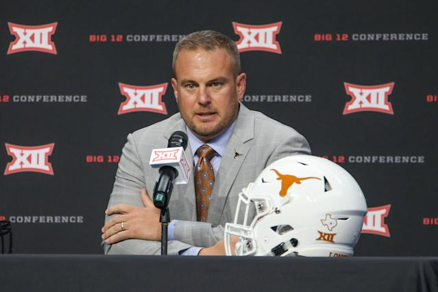 Texas head coach Tom Herman speaks to the press during the Big 12 Media Days on July 16, 2019 at AT&T Stadium in Arlington, TX. (Photo by George Walker/Icon Sportswire via Getty Images)