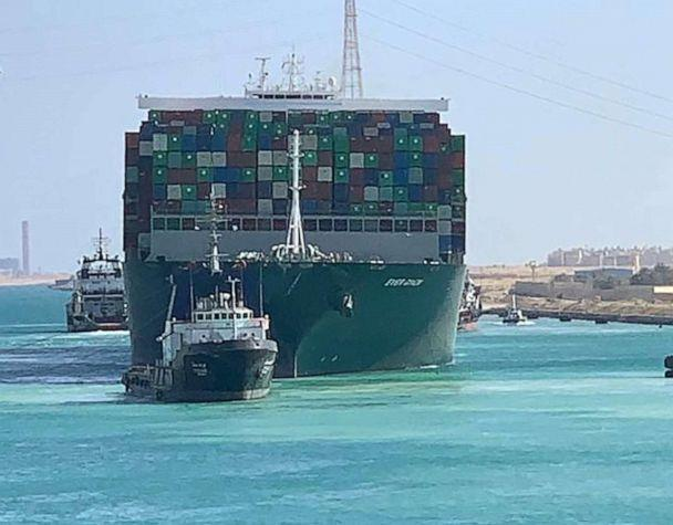 PHOTO: Ship 'Ever Given,' one of the world's largest container ships, is seen after it was fully floated in Suez Canal, Egypt, March 29, 2021. (Suez Canal Authority via Reuters)