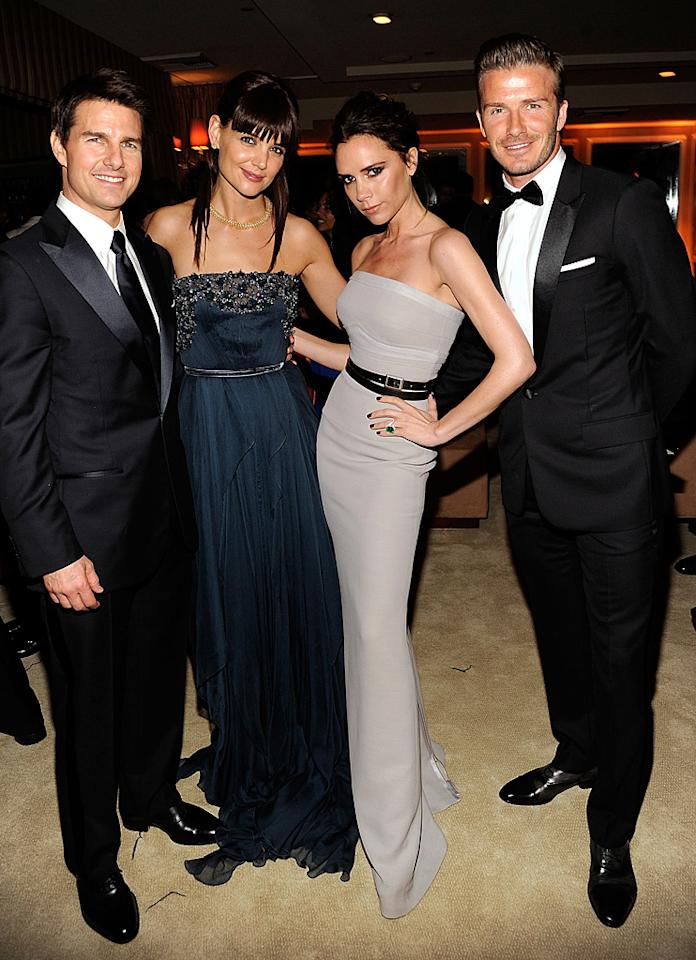 "Tom Cruise and wife Katie Holmes -- who debuted a new, bang-enhanced 'do -- partied the night away with Victoria ""Posh Spice"" Beckham and her hubby, soccer star/underwear model, David."