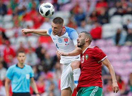 Soccer Football - International Friendly - Morocco vs Slovakia - Stade de Geneve, Geneva, Switzerland - June 4, 2018 Morocco's Khalid Boutaib in action with Slovakia's Milan Skriniar REUTERS/Denis Balibouse