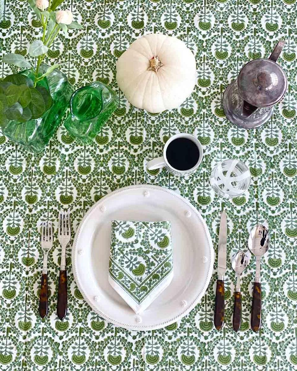 """<p>pomegranateinc.com</p><p><strong>$148.00</strong></p><p><a href=""""https://pomegranateinc.com/collections/table-home/products/caroline-green-tablecloth"""" rel=""""nofollow noopener"""" target=""""_blank"""" data-ylk=""""slk:Shop Now"""" class=""""link rapid-noclick-resp"""">Shop Now</a></p><p>A gorgeous kelly green table cloth from <a href=""""https://pomegranateinc.com/"""" rel=""""nofollow noopener"""" target=""""_blank"""" data-ylk=""""slk:Pomegranate"""" class=""""link rapid-noclick-resp"""">Pomegranate </a>will last from fall throughout the holiday season.</p>"""