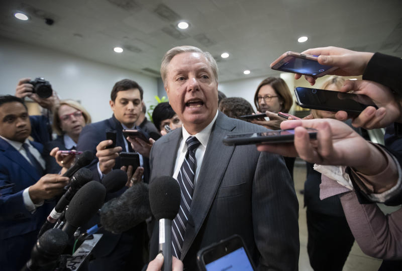"Sen. Lindsey Graham, R-S.C., chairman of the Subcommittee on Crime and Terrorism, speaks to reporters after a closed-door security briefing by CIA Director Gina Haspel on the slaying of Saudi journalist Jamal Khashoggi and the involvement of the Saudi crown prince, Mohammed bin Salman, at the Capitol in Washington, Tuesday, Dec. 4, 2018. Graham said there is ""zero chance"" the crown prince wasn't involved in Khashoggi's death. (AP Photo/J. Scott Applewhite)"