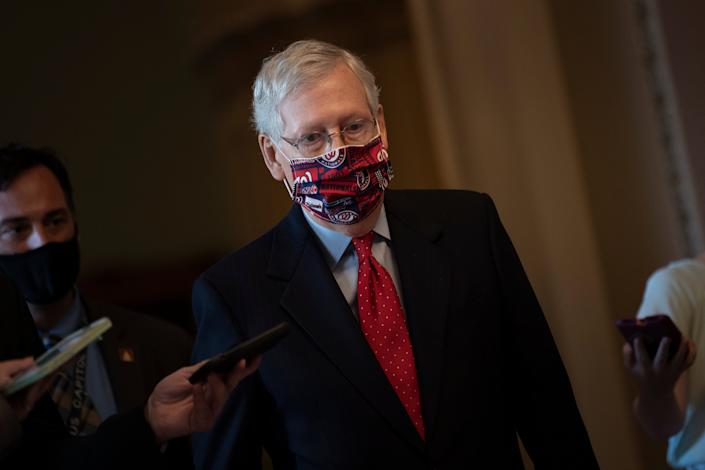 Senate Majority Leader Senator Mitch McConnell (R-KY) walks to his office on Capitol Hill on July 30, 2020, in Washington, DC. (Brendan Smialowski/AFP via Getty Images)