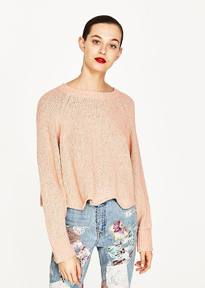 "Zara Wavy Sweater, $19.95 (was $39.90); at <a rel=""nofollow"" href=""http://www.zara.com/us/en/woman/mid-season-%7C-50-off/wavy-sweater-c818525p4292543.html"" rel="""">Zara</a>"