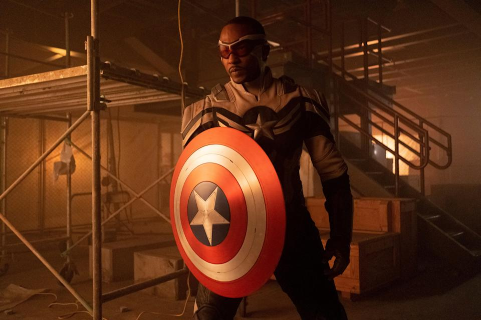 """Sam Wilson (Anthony Mackie) officially took on the mantle and the shield of Captain America in the finale of Marvel's """"The Falcon and the Winter Soldier."""""""