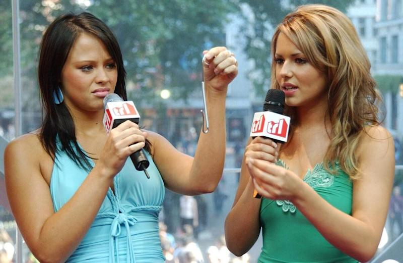 Kimberley Walsh and Cheryl Tweedy from Girls Aloud during their guest appearance on MTV's TRL - Total Request Live - show, at the new studios in Leicester Square, central London.