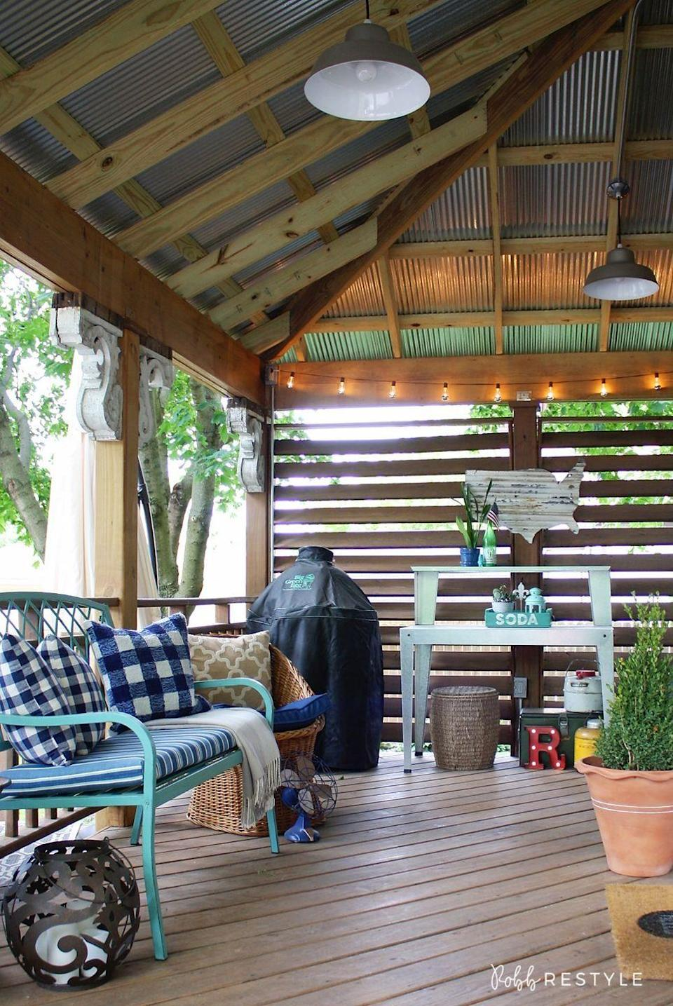 """<p>A streamlined strand will keep the area looking nice and clean. Then, you can decorate with all sorts of knick knacks.</p><p><strong>See more at <a href=""""https://robbrestyle.com/summer-backyard-tour/"""" rel=""""nofollow noopener"""" target=""""_blank"""" data-ylk=""""slk:Robb Restyle"""" class=""""link rapid-noclick-resp"""">Robb Restyle</a>.</strong></p><p><strong><a class=""""link rapid-noclick-resp"""" href=""""https://www.amazon.com/Outdoor-Commercial-Perfect-Backyard-Umbrella/dp/B07B61XR58?tag=syn-yahoo-20&ascsubtag=%5Bartid%7C10050.g.3404%5Bsrc%7Cyahoo-us"""" rel=""""nofollow noopener"""" target=""""_blank"""" data-ylk=""""slk:SHOP STRING LIGHTS"""">SHOP STRING LIGHTS</a><br></strong></p>"""