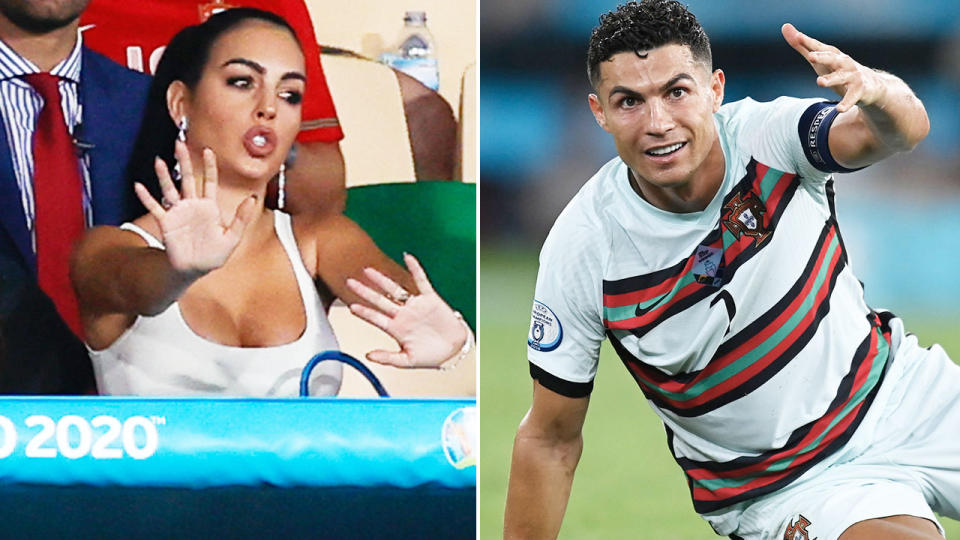 Georgina Rodriguez, pictured here in the stands as Cristiano Ronaldo and Portugal crashed out of Euro 2020.