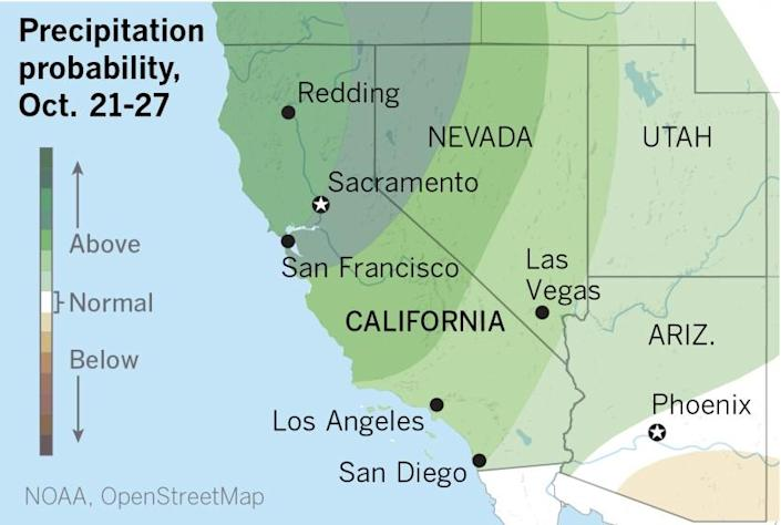 Map showing the 8-14 day precipitation outlook for California and neighboring states.