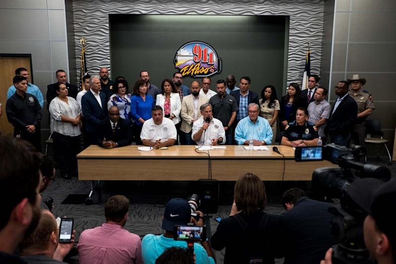 El Paso Special Agent in Charge Emmerson Buie, Fire Chief Mario D' Agostino, Texas Governor Greg Abbott, Mayor Dee Margo and Police Chief Greg Allen speak during a press briefing, following a mass fatal shooting, at the El Paso Regional Communications Center in El Paso, Texas, on August 3, 2019. - A gunman armed with an assault rifle killed 20 people Saturday when he opened fire on shoppers at a packed Walmart store in the latest mass shooting in the United States.