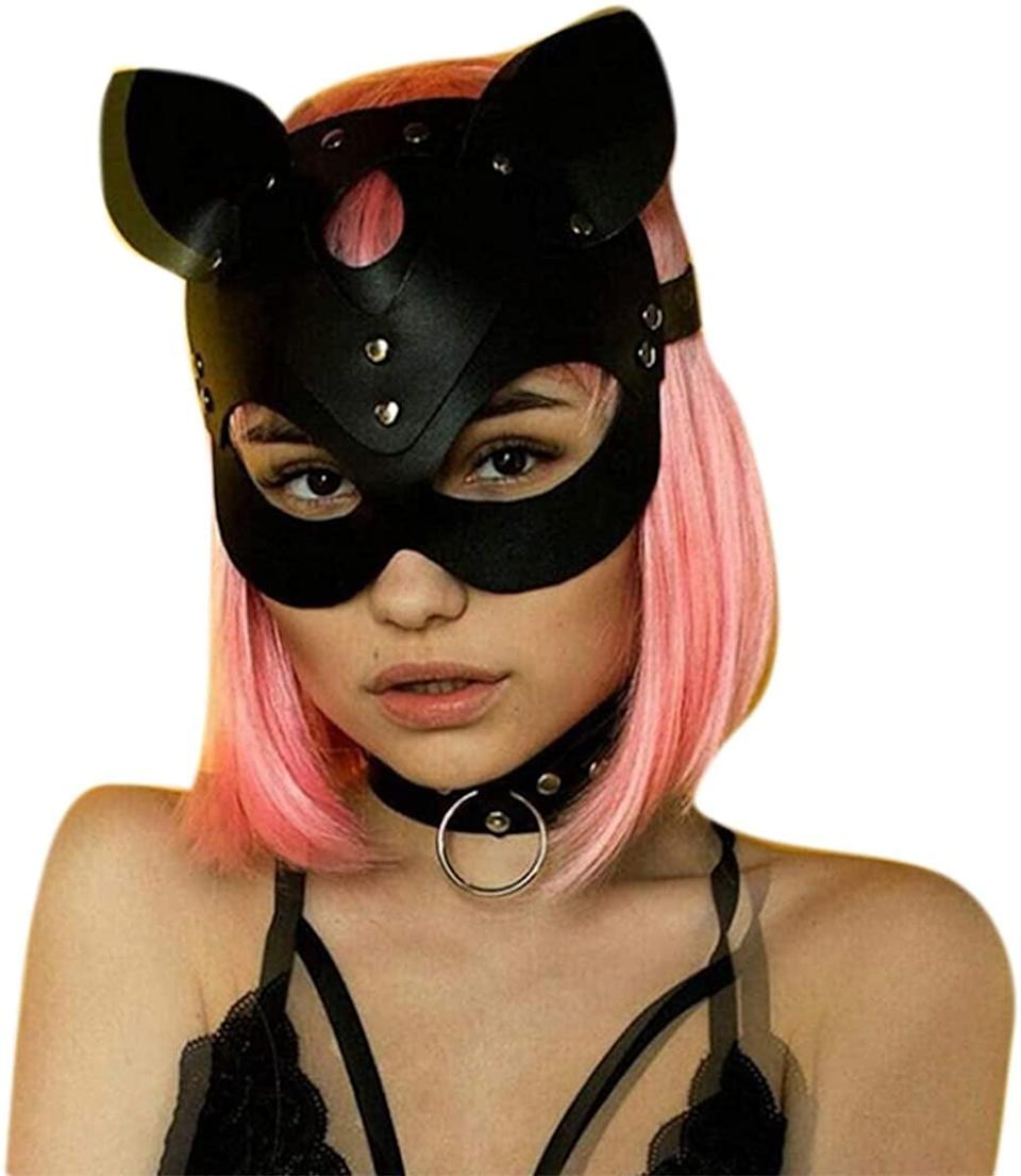 <p><span>Soft Leather Cat Half Face Mask</span> ($15)</p>
