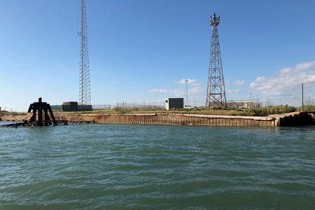 FILE PHOTO: The Harbor Island in Corpus Christi Bay where the Carlyle Group one of the world's top private equity firms and its partner the Port of Corpus Christi plan to build an onshore U.S. crude export terminal