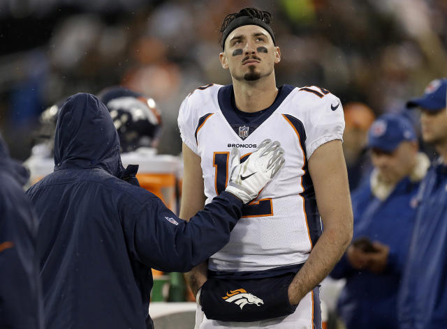 "The <a class=""link rapid-noclick-resp"" href=""/nfl/teams/den"" data-ylk=""slk:Denver Broncos"">Denver Broncos</a> are officially done with quarterback <a class=""link rapid-noclick-resp"" href=""/nfl/players/29260/"" data-ylk=""slk:Paxton Lynch"">Paxton Lynch</a>. (AP Photo/Ben Margot)"