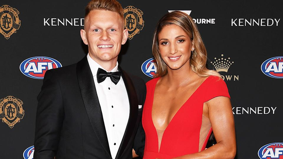 Adam Treloar and fiancee Kim Ravaillion, pictured here at the 2019 Brownlow Medal night.