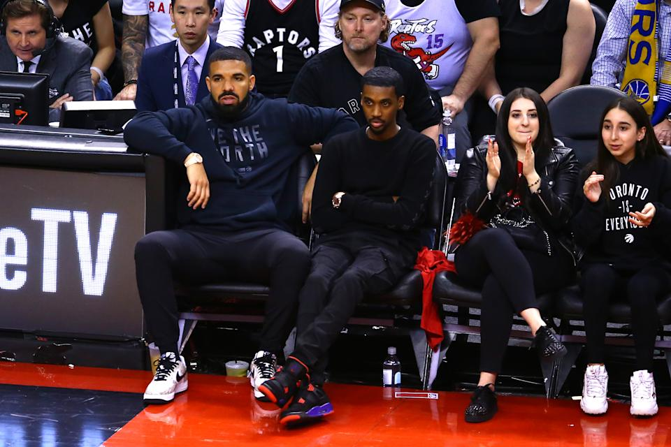 Drake reacts in the first half during Game Two of the 2019 NBA Finals between the Golden State Warriors and the Toronto Raptors at Scotiabank Arena on June 02, 2019 in Toronto, Canada. (Photo by Vaughn Ridley/Getty Images)
