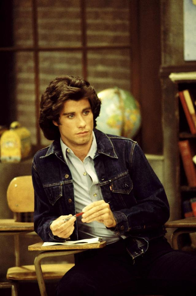 "John Travolta and his lush head of hair on ""Welcome Back, Kotter."" (Photo: Everett Collection)"