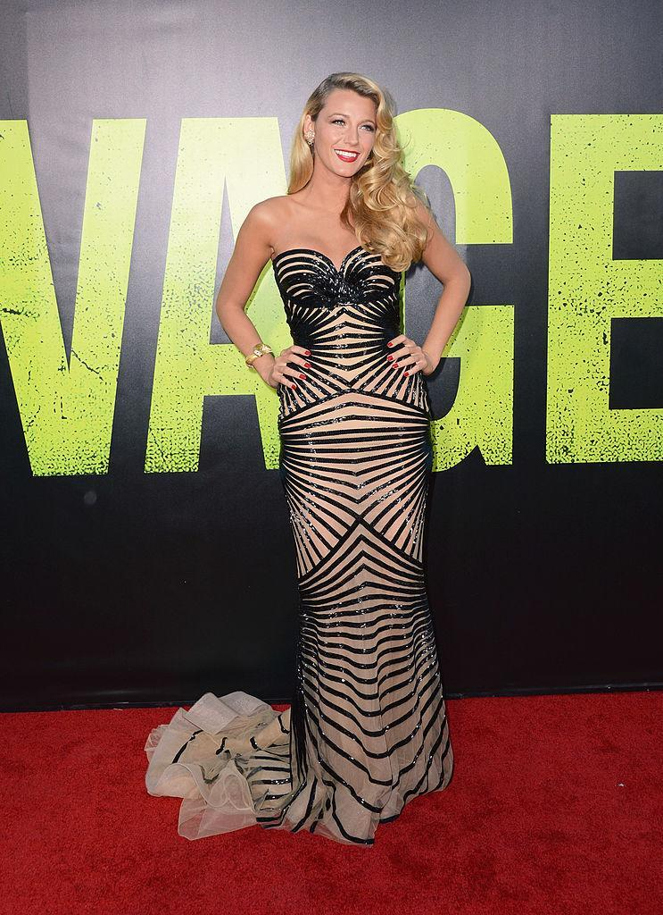 <p>This amazing geometric style dress was worn at Westwood Village and looks great with Blake's curled hair.<br><i>[Photo: Getty]</i> </p>