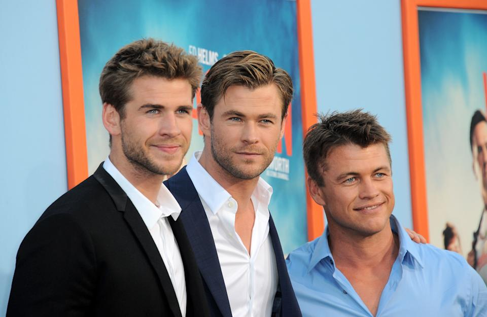 "Actors/brothers Liam Hemsworth, Luke Hemsworth and Chris Hemsworth arrive for the Premiere Of Warner Bros. Pictures' ""Vacation"""