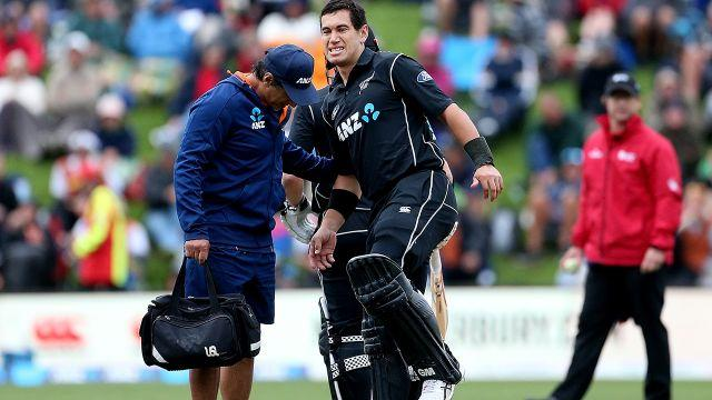 Taylor required medical attention during his innings. Image: Getty