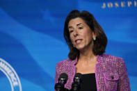 FILE - In this Jan. 8, 2021, file photo President-elect Joe Biden's nominee for Secretary of Commerce, Rhode Island Gov. Gina Raimondo speaks during an event at The Queen theater in Wilmington, Del. (AP Photo/Susan Walsh, File)