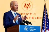 FILE PHOTO: U.S. President-elect Joe Biden delivers pre-Thanksgiving speech at transition headquarters in Wilmington, Delaware