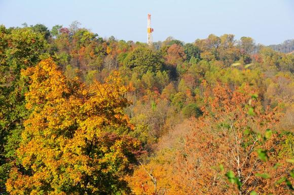 A natural gas drilling rig in Ohio.
