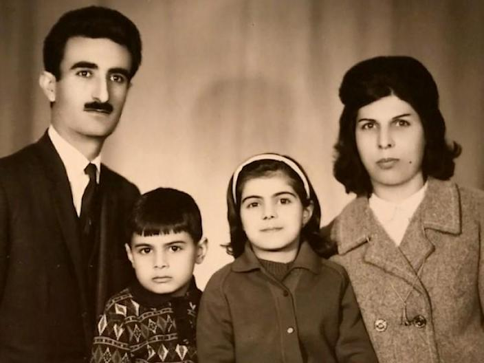 A family portrait of Hassan, Behrooz, Sholeh, and Farideh Moghaddam, taken in Iran in 1967. Two years later the Moghaddam family immigrated to the United States where they are now citizens. (Courtesy of the Moghaddam family)