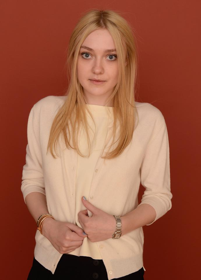 PARK CITY, UT - JANUARY 23:  Actres Dakota Fanning poses for a portrait during the 2013 Sundance Film Festival at the Getty Images Portrait Studio at Village At The Lift on January 23, 2013 in Park City, Utah.  (Photo by Larry Busacca/Getty Images)