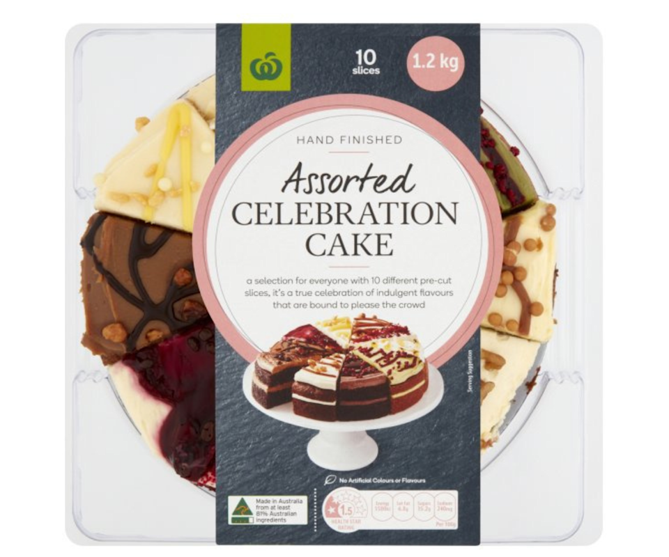 Woolworth's assorted celebration cake. Photo: Woolworths
