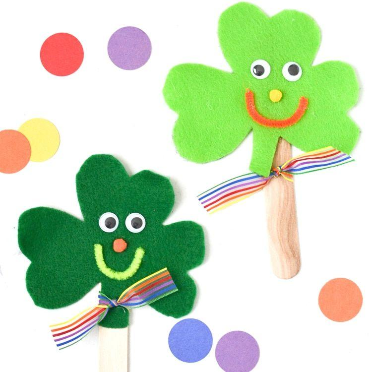 "<p>This is a fun craft to do together if the kids are old enough to hold scissors. If not, some pre-made felt shamrock cartoons on popsicles sticks will keep them entertained all day. </p><p><a class=""body-btn-link"" href=""https://www.amazon.com/Rainbow-Classic-Felt-Neon-Green/dp/B0033M2E3S/?tag=syn-yahoo-20&ascsubtag=%5Bartid%7C10055.g.5020%5Bsrc%7Cyahoo-us"" target=""_blank"">SHOP GREEN FELT</a></p><p><em><a href=""http://www.teepeegirl.com/free-st-patricks-day-scavenger-hunt/"">Get the tutorial from Typically Simple »</a></em></p>"