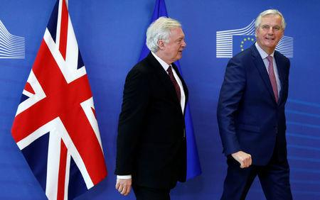 Britain's Secretary of State for Exiting the European Union David Davis and European Union's chief Brexit negotiator Michel Barnier are seen ahead of a meeting in Brussels, Belgium, March 19, 2018.  REUTERS/Francois Lenoir