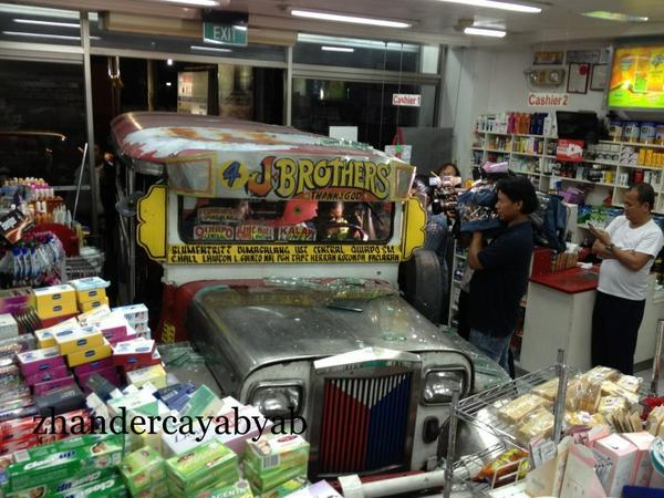 A passenger jeepney lost its brakes and hit a Mercury Drug store in Taft corner Padre Faura in Manila on September 12. Fortunately, no one was hurt in the incident.  Photos from Zhander Cayabyab, used with permission.