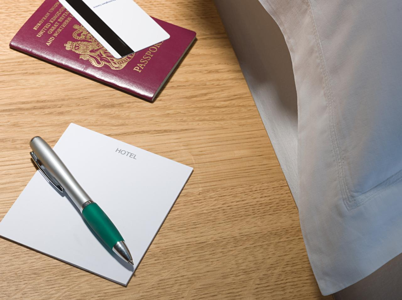 <p>Hotel pens and notepads are all yours. But steer clear of anything more permanent like folders. Photo: Getty </p>
