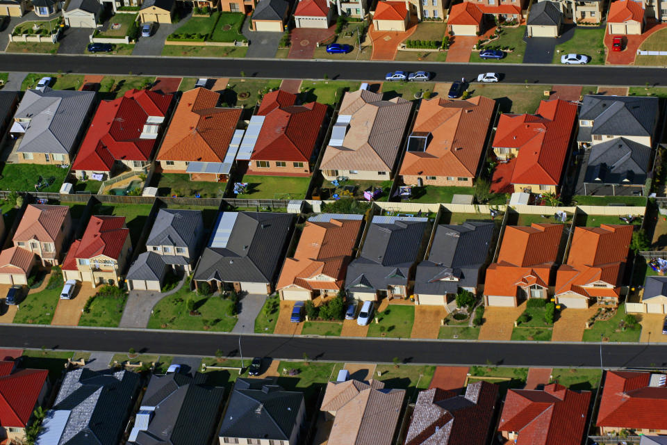 This was photographed from a helicopter of Sydney's urban sprawl on the edges of the city.