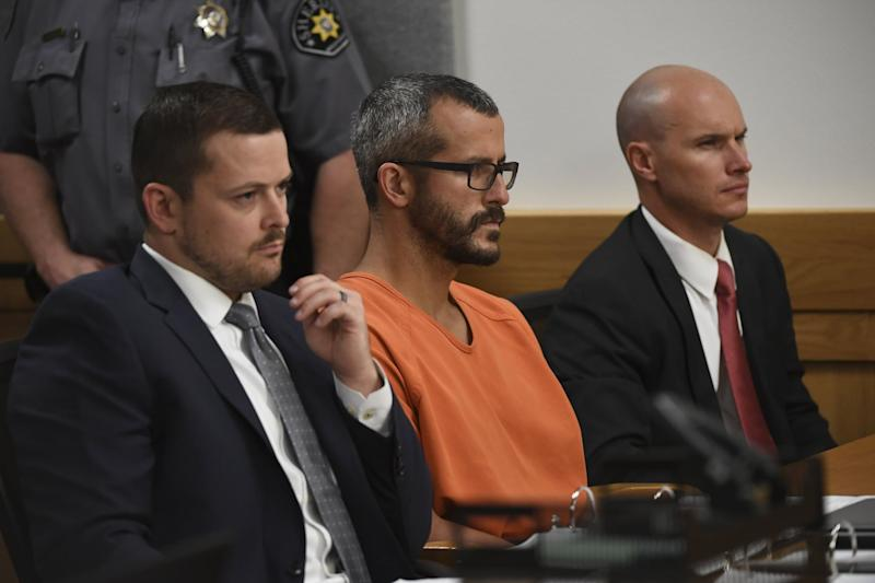 GREELEY, CO - AUGUST 21: Christopher Watts is in court for his arraignment hearing at the Weld County Courthouse on August 21, 2018 in Greeley, Colorado. Watts faces nine charges, including several counts of first-degree murder of his wife and his two young daughters. (Photo by RJ Sangosti/The Denver Post via Getty Images)