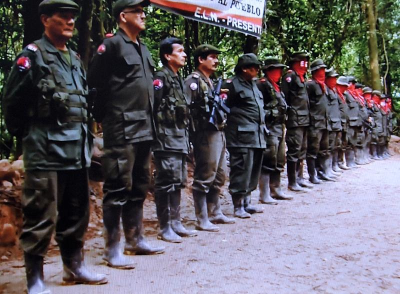 "Picture taken from a video posted on the National Liberation Front (ELN) website ""Portal Voces de Colombia"" shows members of the ELN during their V Congress held last December"