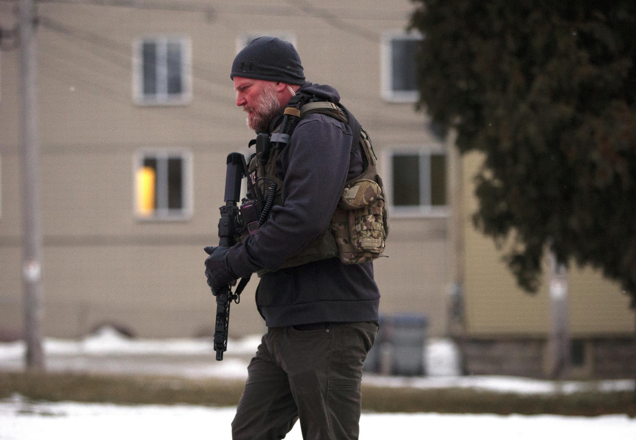MILWAUKEE, WISCONSIN - FEBRUARY 26: A law enforcement officer works the scene of a shooting at the Molson Coors Brewing Co. campus on February 26, 2020 in Milwaukee, Wisconsin. Six people, including the gunman, were reportedly killed when an ex-employee opened fire at the MillerCoors building on Wednesday. (Photo by Nuccio DiNuzzo/Getty Images)