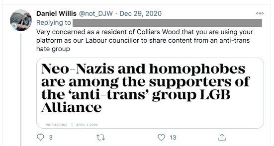 Labour councillor insists LGB Alliance is not 'a hate group of any kind'