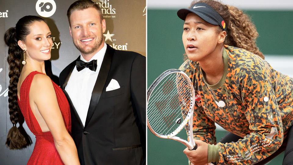 Sam Groth and Naomi Osaka, pictured here in 2021.