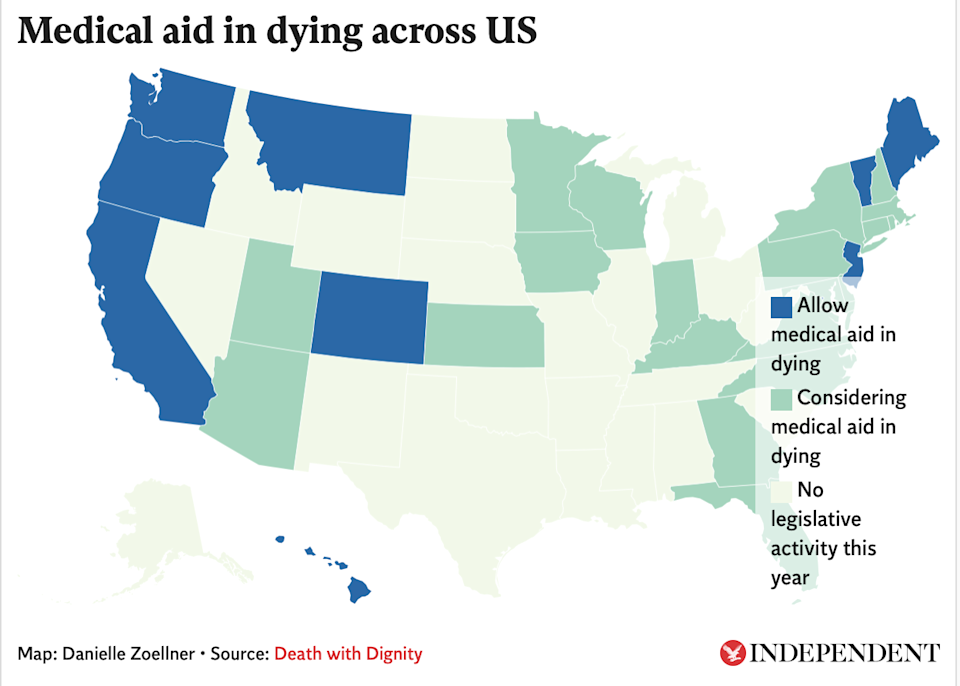 Nine states and the District of Columbia currently have laws that allow medical aid in dying for their residents (The Independent )