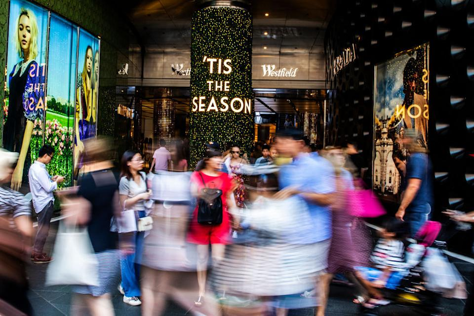 Shoppers are seen at Westfield on Castlereagh Street during the Boxing Day sales in 2019 in Sydney's CBD. Source: Jenny Evans/Getty Images