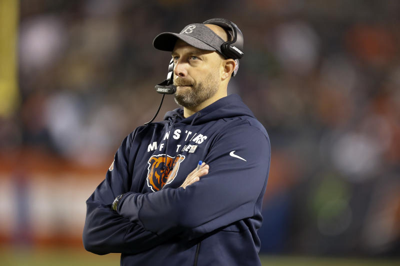 Matt Nagy hopes that a Nationals-themed PowerPoint will inspire the Bears to a win on Sunday. (Photo by Nuccio DiNuzzo/Getty Images)