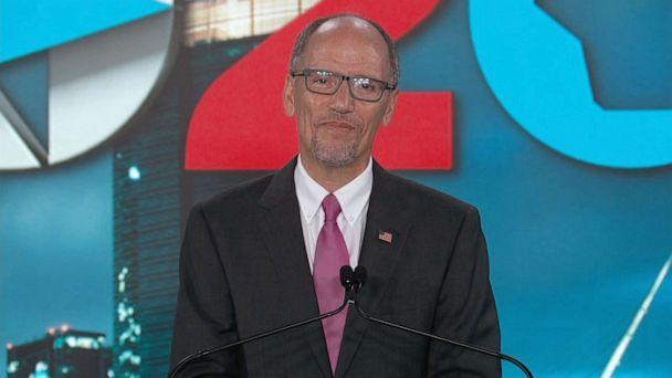 PHOTO: Democratic National Committee chair Tom Perez speaks during the fourth night of the Democratic National Convention, Aug. 20, 2020, from Milwaukee. (Democratic National Convention)