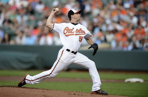 Baltimore Orioles starter Miguel Gonzalez delivers a pitch against the New York Yankees during the first inning of a baseball game, Tuesday, May 21, 2013, in Baltimore. (AP Photo/Nick Wass)
