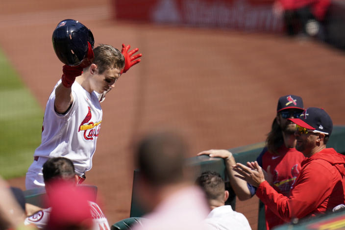St. Louis Cardinals' Tyler O'Neill celebrates after hitting a solo home run during the fifth inning of a baseball game against the Cincinnati Reds Sunday, April 25, 2021, in St. Louis. (AP Photo/Jeff Roberson)