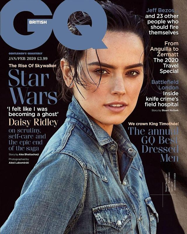 Daisy Ridley opens up about the emotional filming of the final Star Wars movie, and how the late Carrie Fisher was included. (Photo: British GQ)